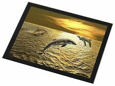 Gold Sea Sunset Dolphins Black Rim Glass Placemat Animal Table Gift, AF-D4GP