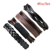 4PCS Mens Handmade Leather Braided Surfer Wristband Bracelet Bangle Wrap