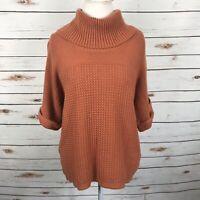 Coldwater Creek Orange Knit Sweater Short Sleeve Cowl Neck Size XL Boxy