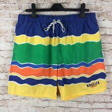 bd9eedd37b0f6 Nautica Mens Medium Striped Retro Multi-Color Swim Trunks Swimsuit