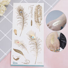 2X Feather design tattoo gold temporary tattoos glitter stickers for women me Sp