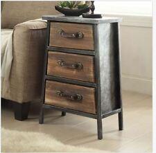 Industrial Rustic Wood Metal End Table Nightstand Bedside Farmhouse Furniture