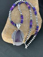 "Native American Sterling Silver Navajo Pearls PURPLE SUGILITE Pendant 2.5"" 278"