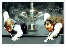 Steve DAVIS & Ray REARDON Signed Autograph 16x12 SNOOKER Montage Photo AFTAL COA