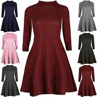 Womens Turtle Neck Ribbed Top Ladies Full Sleeves Tunic Knit Swing Skater Dress