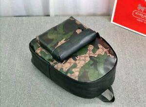 COACH men Black backpack Genuine Leather khaki