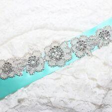 Beaded Pearl Bridal Flower Rose Diamante Crystal Sash Belt Sew on Applique