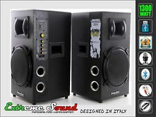 COPPIA CASSE AMPLIFICATE 1300 W. Bluetooth USB RADIO x KARAOKE DJ CX-2S10U Black