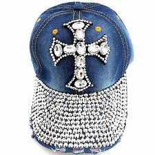 Rhinestone Crystal Cross Studded Stone Visor Blue Denim Baseball Bling Hat Cap