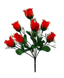 7 Roses Buds Wedding Silk Flowers Bouquet Centerpiece Artificial Craft Fake Faux