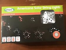 Smart Solar Americana Solar String Lights Red White & Blue Stars New