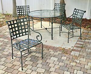 "Discontinued Brown Jordan 5 piece ""Florentine"" pattern outdoor dining set"