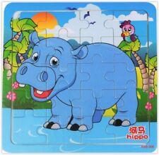 PUZZLE EN BOIS 20 PIECES - POUR JEUNE ENFANT - UN HIPPOPOTAME