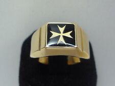 baádo en oro amarillo anillo con sello cuadrado cruz de malta esmalte negro