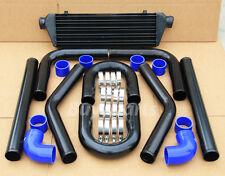 UNIVERSAL 8X BLACK ALUMINUM PIPING + INTERCOOLER+ BLUE COUPLER FOR EF EG EK DC2