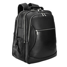 "Men Real Leather 17"" Laptop Travel Bag Backpack Satchel Daypack Book School Bag"