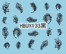 Black Peacock Feathers 3D Nail Art Sticker Decals UV Gel Polish Manicure Tips