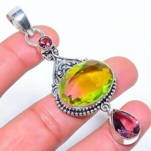 "Burmese Peridot & Amethyst 925 Sterling Silver Pendant Jewelry 3.1"" S2768"
