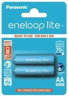 2 x Panasonic Eneloop Lite R6/AA 950mAh BK-4LCCE/2BE Wiederaufladbar (Blister)