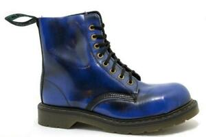 Solovair Made in England 8 Eye Navy Rub Off Steelcap Boot S120-S81551NAVROBK