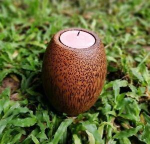 Rustic Tea Light Candle Holder Vintage Solid Wooden Hand Carved Home Sweet Gift