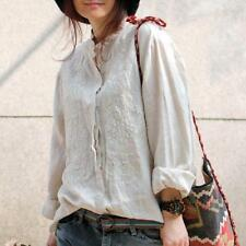 Buykud Linen Cotton Embroidered Tops Casual Loose Floral Shirt Blouse Summer