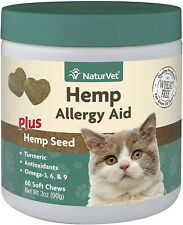 NaturVet Quiet Moments Plus Hemp Seed Soft Chews for Cats ☆ Helps Alergy