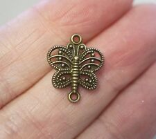 15 Butterfly Connectors/Charms, Findings - 17mm - Antique Bronze