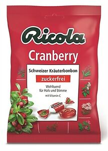 (2,13€/100g) 5 x Ricola Cranberry Hustenbonbons ohne Zucker 75g = 375g