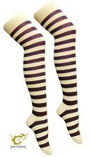 Ladies Over The Knee Fancy Dress Party Stripey Striped Socks Variety Colours Sox Purple and White