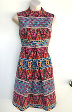 ASOS Colourful Boho Print Cotton Dress High Neck Back Cut Out sz  10-12