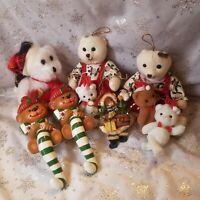 Armbee Fun World Teddy Bear Lot Vtg Ornament Flocked Tin Plush Stocking Hook 80s