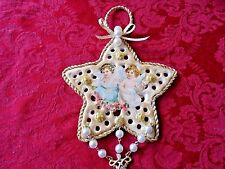 Victorian Inspired Christmas Ornament - 2 Angel Cherubs Embellished Star w/Trim