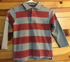 Mini Boden Polo Shirt Red & Gray Striped Layered Look Long Sleeve Boys Top 5-6Y