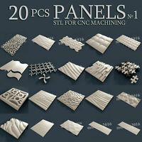 20 pcs set #1 3d stl model for CNC Router Artcam Aspire