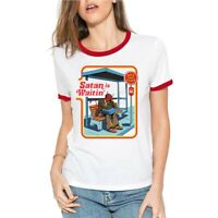 Satan is Waiting Bus Women's T-shirt Short Sleeve Funny Ringer Cotton Sport Tee