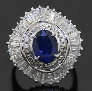 Heavy Platinum 5.3CTW VS diamond/9.3 X 6.8mm Blue sapphire cluster cocktail ring