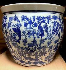 "New 16"" Oriental Blue and White Koi FIsh Fish Bowl Jardiniere Planter Pot"