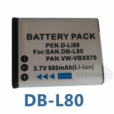 New Battery for Sanyo DB-L80 DBL80 Pentax D-L188 DL188 D-Li88 VPC-GH1GX CS1PX X1