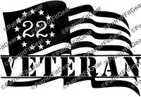 Veteran 22,Suicide Awareness,PTSD,Flag,Support Our Troops,Sticker,Vinyl Decal