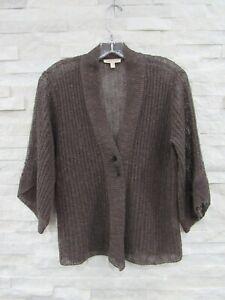 Eileen Fisher Cobblestone Brown Melange Linen Grain Cardigan W/ Pin XS