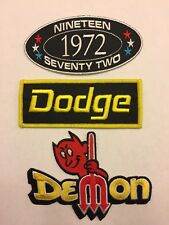 1972 DODGE DEMON SEW/IRON ON PATCH EMBROIDERED EMBLEM HEMI MOPAR CAR