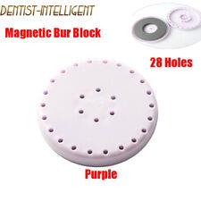 Dental Magnetic Lab Bur Block Fg Ra Hp Holder Round Station 28 Holes Purple