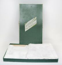 Vintage Hemstd Pure Irish Linen Damask Set 6 Napkins, 12 Placemats Orig. Box