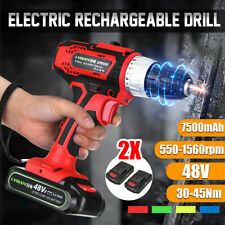 48V Cordless Drill Driver Electric Screwdriver 2-Speed LED & 2 Battery 7500mAh