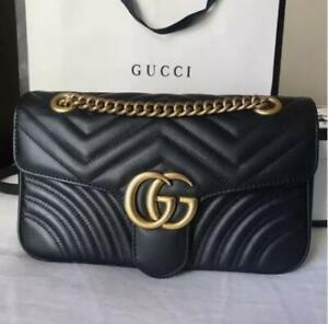[AUTHENTIC] Gucci GG Marmont Matelassé Leather Mini Chain shoulder Bag--BLACK