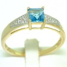 Blue Topaz & Diamond 9ct 9k Solid Gold Natural Ring 30 Day REFUNDS