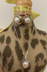 Hagit Gorali Pearl Dangle Earrings Pendant Set Sterling Silver 925 Vintage