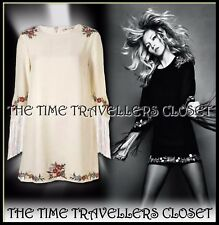 KATE MOSS TOPSHOP IVORY EMBROIDERED FLORAL DRESS FRINGED TASSEL SLEEVES UK 14