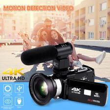 4K WiFi Ultra HD 1080P 3'' Digital Video Camera Camcorder DV + Lens + Microphone
